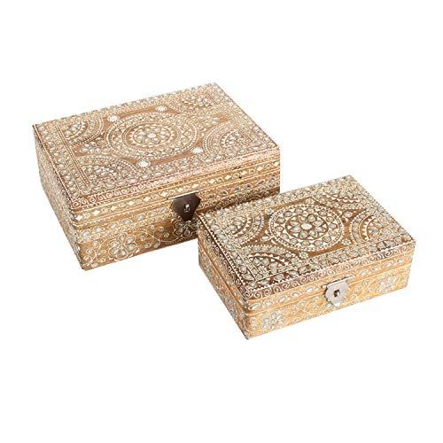 Estos cofres de joyas han sido hecha a mano y pintados a mano, son pequeñas en patrón de, forma o color puede variar por lo tanto normal y que los testigos se trata de 100% hecho a mano.