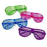 Novelty Place] Gafas de Obturador de Color Neón Gafas de Sol Fiestas Años 80 años con Ranuras para Niños y Adultos - 24 Pares (4 Colores)