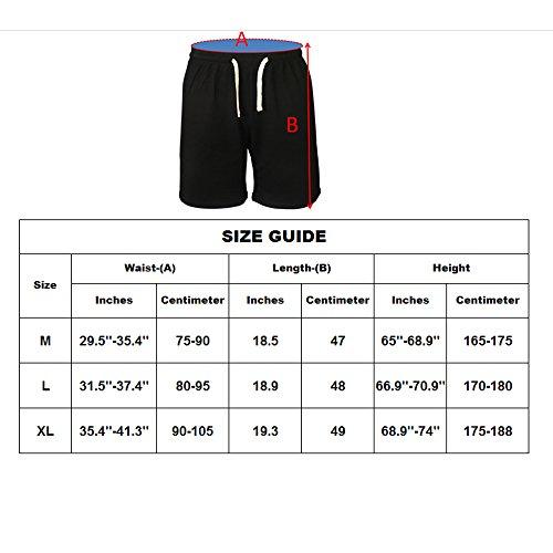 Musclealive Herren Beiläufig 5 Beininnenschlitze kurze Hose 100% Frottee-Baumwolle Black