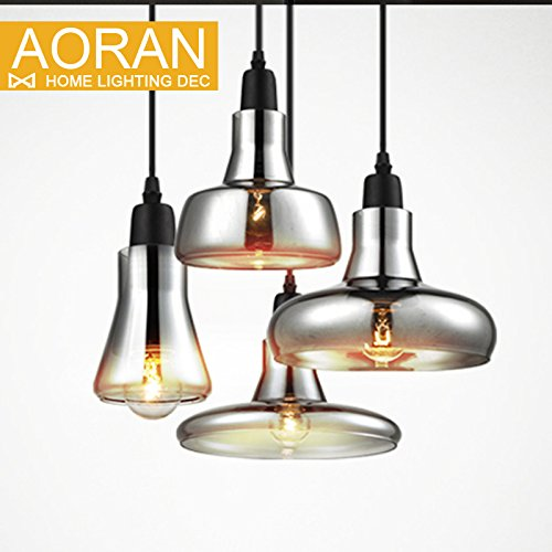 GENERIC C style grey color : vintage glass pendant light grey color ,clear color ,amber color pendant lamps with bulbs 110V/220V led pendant lights
