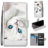 Miagon Flip PU Leder Schutzhülle für Huawei P9 Lite,Bunt Muster Hülle Brieftasche Case Cover Ständer mit Kartenfächer Trageschlaufe,Weiß Katze