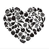 Lkfqjd Herzförmige Obst Und Gemüse Diy Entfernbare Wandaufkleber Für Küche Vinyl Wandkunst Aufkleber Dekoration Zubehör