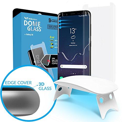 Galaxy S8 Displayschutzfolie Tempered Glass, [Flüssigdispersionstechnologie] 3D Curved Glasschutzfolie, volle Abdeckung, Set für leichte Anbringung und UV-Licht von Whitestone für Samsung Galaxy S8 Bubble Lights Ersatz