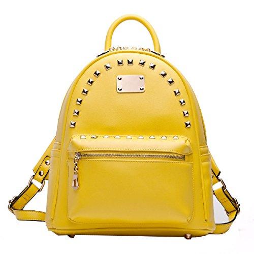 Signore Rivetti Preppy Borse Scuola Borse A Tracolla Yellow