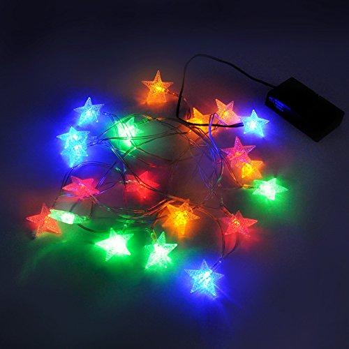 Luce striscia catena luminosa di albero di natale led a batteria stelle colorata lunghezza 3 metri con cassa della batteria funzionale modalita di illuminazione costante e scintillante di enuotek