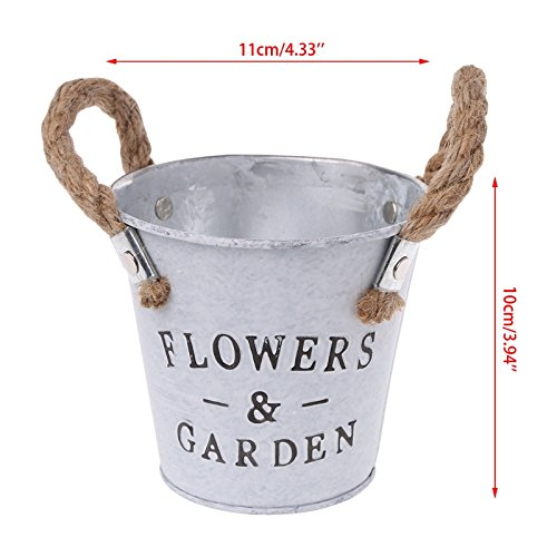 Kofun kleine Metall Eimer Pflanzer Blume dekorative Vasen mit Seil Griffe weiß11x10cm/4.33x3.94