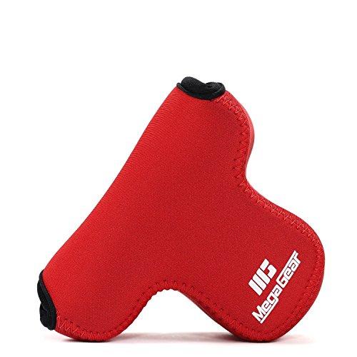 MegaGear '' Ultra-Light '' funda de cámara de neopreno, bolsa - funda protectora para Fujifilm X-A10, X-A3, X-A2, X-A1, X-M1 (16-50 Lente) - con mosquetón para llevar fácil (Rojo)