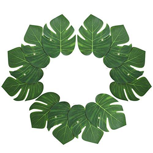 12 stücke Hawaii Luau Tropical Künstliche Große Palme Monstera Blätter Dekorationen für Hochzeit Tisch Party Strand Thema Garten Wohnkultur