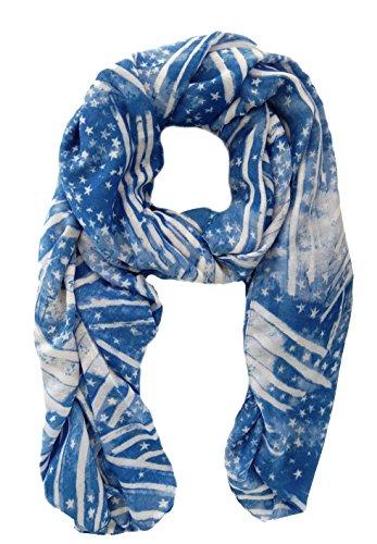en Halstuch Hillary, elegantes Schaltuch, große Stola ca. 100x180 cm, mit weißen Sternen Streifen (Blaue Flagge Mit Weißem X)