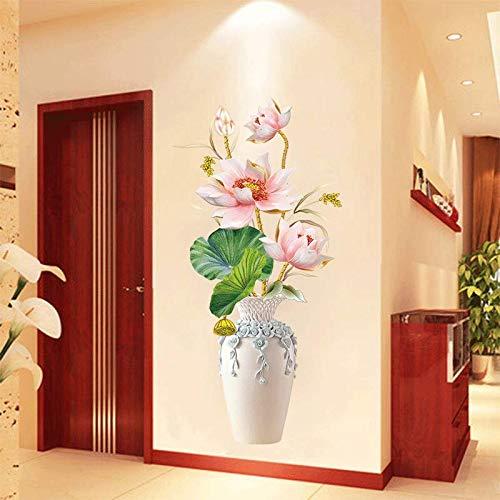 JKJND China Wind Koi 3D Dreidimensionale Wandaufkleber Wohnzimmer Schlafzimmer Raumwanddekorationen Wandaufkleber Selbstklebende Tapete, Lotusblume Vase