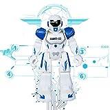 Think Wing Ferngesteuerter Roboter Intelligentes Spielzeug Programmierbare Smart Robot mit LED Augen, Sprechen, Singen, Tanzen, Laufen, Rutschen, Interaktive Lustige Maschine für kleine Kinder (Blau)