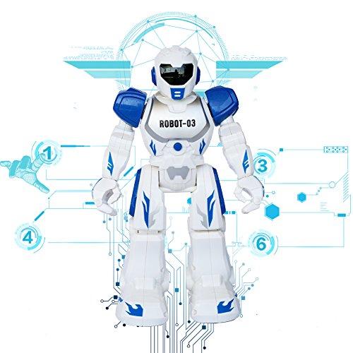 Ferngesteuerte RC Roboter Spielzeug Think Wing Interactive Lustige Maschine mit LED Augen, Sprechen, Singen, Tanzen, Laufen, Rutschen, Ein guter Anfänger Programmierbare Roboter für kleine Kinder (Blau)