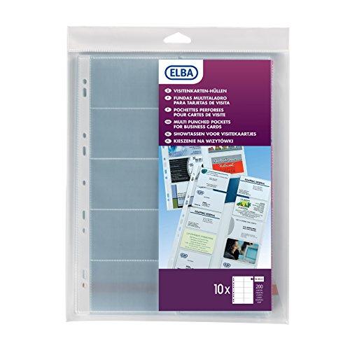 Elba - 100206988 10 Pochettes Perforées pour Cartes de Visite PVC Lisse A4