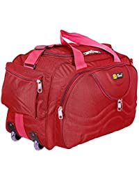 N Choice Polyester 40 Ltr Lightweight Luggage Travel Duffel Bag with 2 Wheels (Red)