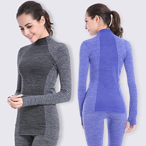 qutool T-shirt de loisir pour femme sport pour homme Sport Yoga T-shirt à manches longues Tops Bleu - Bleu