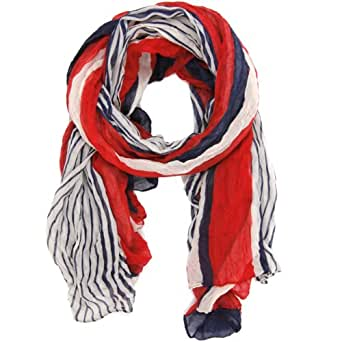 Bucasi Nautical Red White and Blue Stripe Scarf