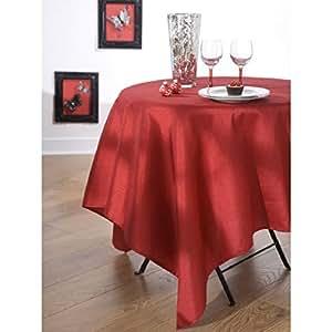 CALITEX - Nappe en tissu ovale 180X240 cm EFFET SOIE rouge