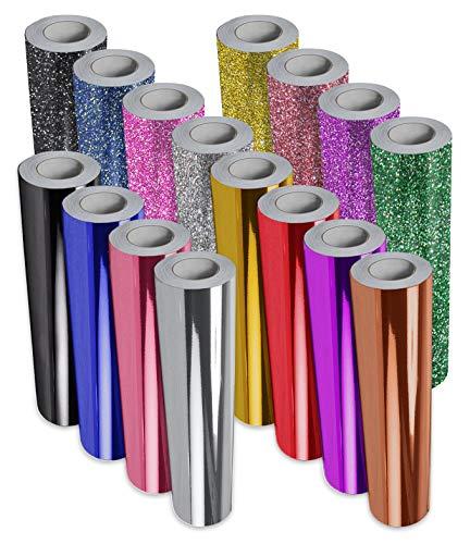 VViViD Deco65 Mehrfarbiges, glänzendes Chrom-Permanentklebeband, Vinyl-Bündel mit 30,5 x 61 cm Rolle von ORACAL Transferpapier 1ft x 5ft black, blue, pink, silver, gold, red, purple, green -