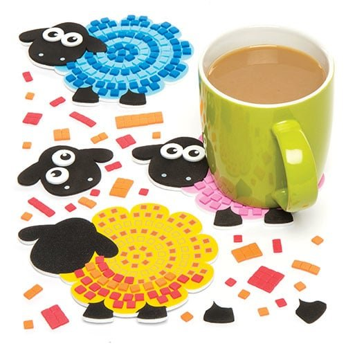 Baker Ross Fluffy Sheep Mosaic Coaster Kits for Children Creative Art Supplies & Decorations (Pack of 6)