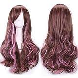 Cos peluca gradiente Harajuku estilo helado caliente alambre caliente peluca