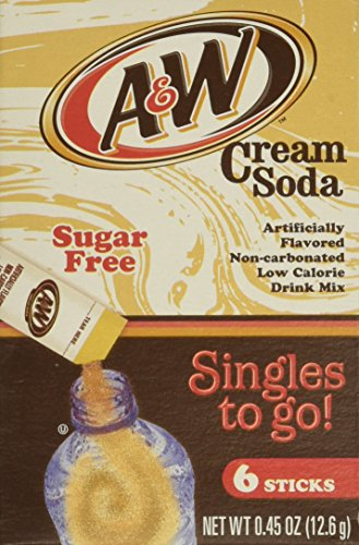 A&W Cream Soda Sugarfree Singles To Go Drink Mix 6 Stick 12.6g Box