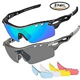 Unisex Sportbrille Polarisierte TSAFRER Sonnenbrille mit 6 wechselbare Linsen UV400 Schutz Radbrille für Fahren, Fahrrad, Golf, Angeln, Baseball, Wandern, Tr90 Unzerbrechliche Brillenfassung(2 Paar) (BlueGreen-Gray)