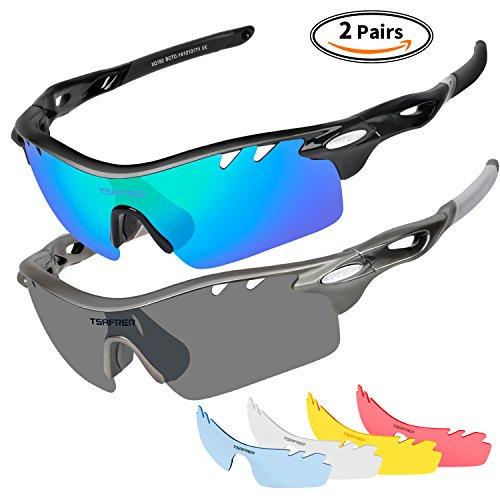 Unisex Sportbrille Polarisierte Sonnenbrille mit 6 wechselbare Linsen UV400 Schutz Radbrille