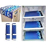 Factcore™ Combo of Designer Refrigerator Cover(Blue), 2 Handle Cover (Blue) and 3 Fridge Mats (Printed) Standard Size; -Set of 6 Pieces