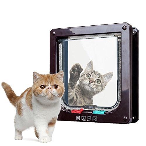 Henweit 4Möglichkeiten Verriegelungs Rahmen magnetisch Pet Klein Katze Hund Lasche Tür braun -