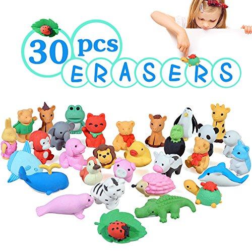 Acekid Goe da Cancellare Bambini Set di goe da Matita per Animali 3D Mini Giocattoli di Goa da Cancellare Divertenti per Feste e Materiale Scolastico