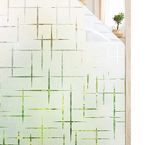 rabbitgoo Fensterfolie statisch haftend Sichtschutzfolie Selbstklebend Klebefolie Milchglasfolie Fenster Folie Milchglas Dekofolie für Bad Küche Anti-UV - Kreuz - 60 x 200 cm