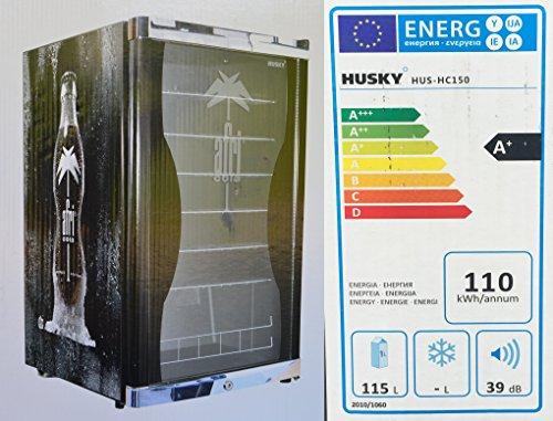 Husky HUS-HC 150 Highcube High Cube Flaschenkühlschrank Afri-Cola / A+ / 83,5 cm Höhe / 110 kWh/Jahr / 130 L Kühlteil inkl. Reinigungstuch