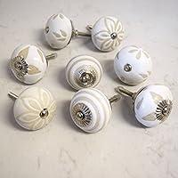 Superieur Poignée Bouton De Porte Placard Tiroir Crème Blanc Beige Shabby Chic Motif  Coeur Fleur Rayures En Belles Idees