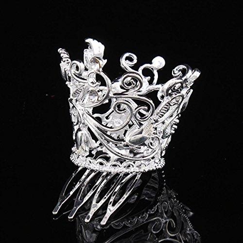Santfe 3pcs Mini corona Tiara imitación perla pelo peines para niños Pageant Prom Party