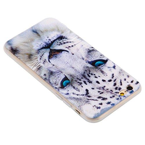 Coque iPhone 6 , Envelop Coque en Silicone Gel TPU Etui Housse iPhone 6S Souple Flexible Ultra Mince Housse de Protection pour Apple iPhone 6 / 6S (4.7 pouces) Case Cover Soft Slim Mince Léger Anticho Léopard blanc