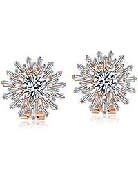 Jewels Galaxy Exclusive Sparkling AAA Swiss Cubic Zirconia Stunning Stud Earrings For Women/Girls