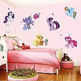 begly (TM) My Little Pony Cartoon Wandsticker für Kinder Zimmer Home Dekoration 1425. DIY PVC Animal TV Aufkleber Mädchen Raum 3D Wandbild 3.0