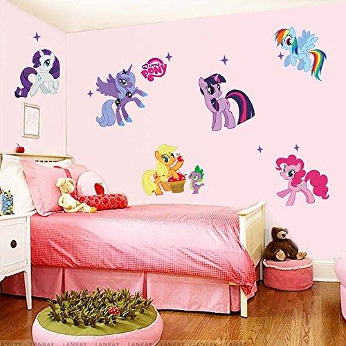 Pony Cartoon Wandsticker für Kinder Zimmer Home Dekoration 1425. DIY PVC Animal TV Aufkleber Mädchen Raum 3D Wandbild 3.0 ()