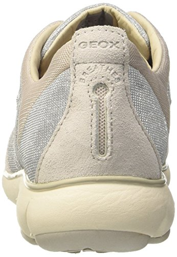 Geox D Nebula G, Sneakers Basses Femme Gris (Silver/Off Whitec1121)