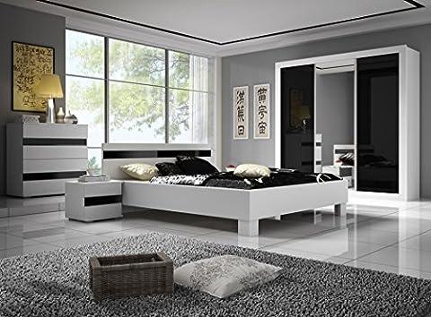Chambre à coucher complète LUCCA design laqué brillant noir et blanc lit 160x200, table de nuit et