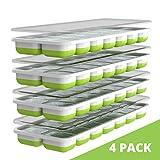 Oliver's Kitchen Ice Cube Tray - 4 x set ijsvormen - Flexibele basis voor gemakkelijk los te maken ijsblokjes - Bespaar vriesruimte met stapelbare deksels zonder morsen