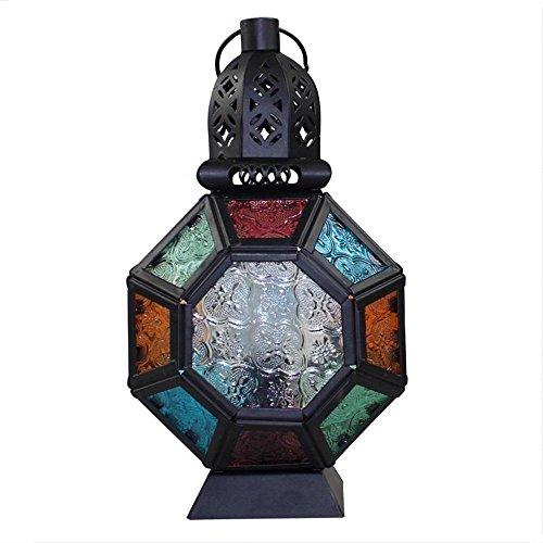 Gbyzhmh il marocco decorativo lanterne a candela candelabro di ferro multicolore lanterna in vetro portacandele home decorazioni regalo creativo hristmas candela titolare di visualizzazione accessori per la casa