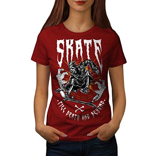 Schlittschuh Grimmig Schnitter Horror Damen S-2XL T-shirt | Wellcoda Red