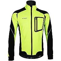 iCreat Herren Jacke Air Jacket Winddichte Lauf- Fahrradjacke MTB Mountainbike Jacket Visible reflektierend, Fleece Warm Jacket für Herbst, Gr.S bis XXL