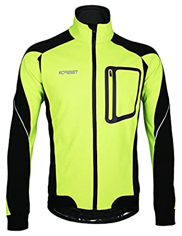 iCreat Mens Cycling Jacket Windproof Breathable Lightweight High Visibility Warm Thermal Long Sleeve Jacket MTB Mountain Bike Jacket Green, EU SIZE