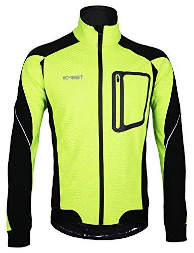 iCreat Herren Jacke Air Jacket Winddichte Lauf- Fahrradjacke MTB Jacket Visible reflektierend, Fleece Warm Jacket für Herbst, Grün Gr.L