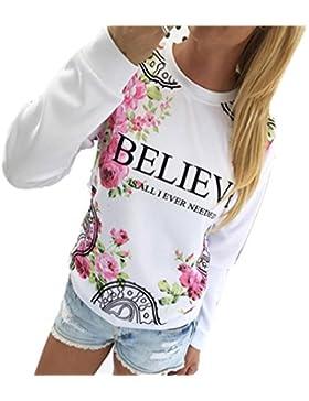 Camisas Mujer,Xinan Floral Sudaderas con Capucha Manga Larga Blusa Suelta