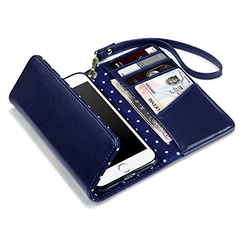iPhone 7 Funda Monedero - Azul marino con lunares interiores (Carteras Mujer Monederos)
