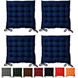 Beautissu Set da 4 cuscini da sedia trapuntati Lea 40x40x5cm - blu - decorativi - per casa o giardino - con lacci