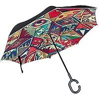 MAILIM Paraguas inverso con patrón geométrico Abstracto invertido, Resistente al Viento, Doble Capa,
